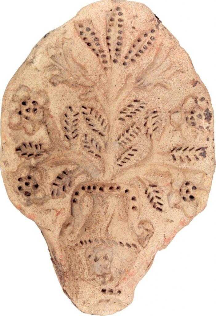 Pottenbakkersstempel van bloemenvaas