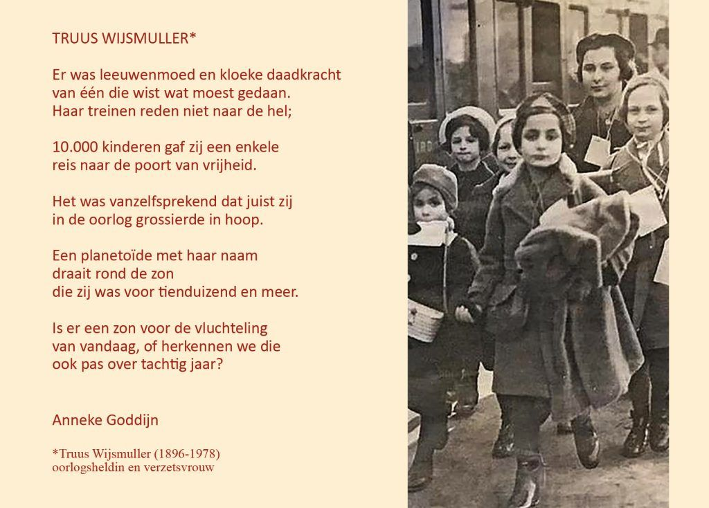 Gedicht stadsdichter Anneke Godijn over Truus Wijsmuller
